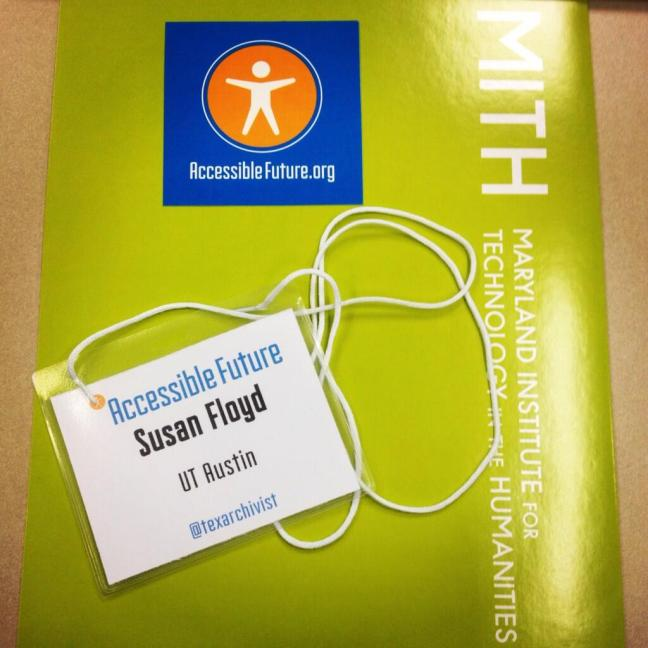 Accessible Future, Susan Floyd nametag and welcome folder
