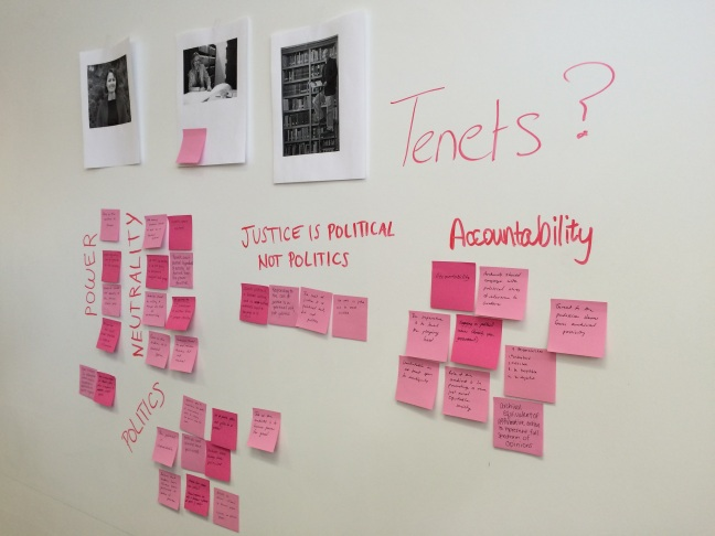 Archives Enterprise II class, Post-Its mapping social justice theory in archives