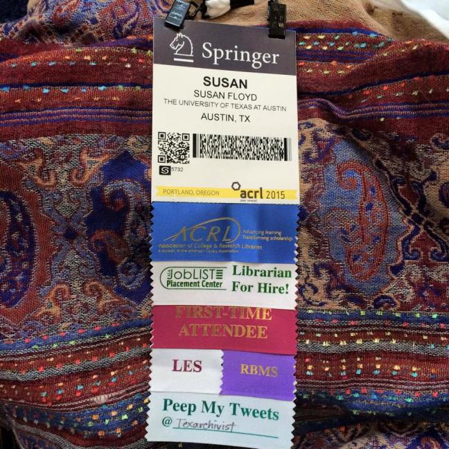 ACRL 2015 name badge with flair