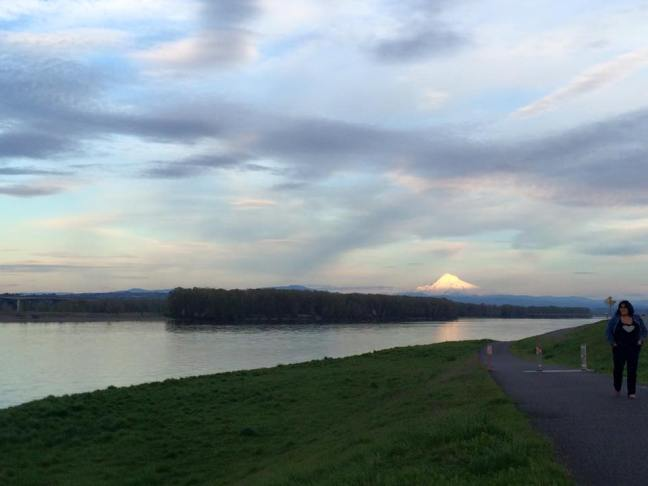 Sunset on Mt. Hood, view from the Columbia River.