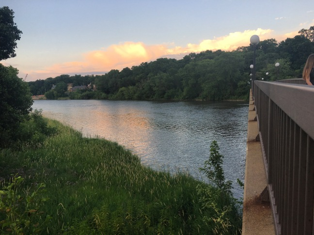Photograph of the Iowa River in the evening light